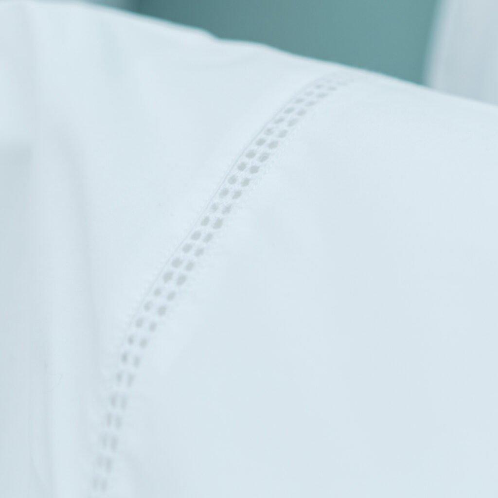 Cotton Percale Lace Trim Pillowcase snow white 3