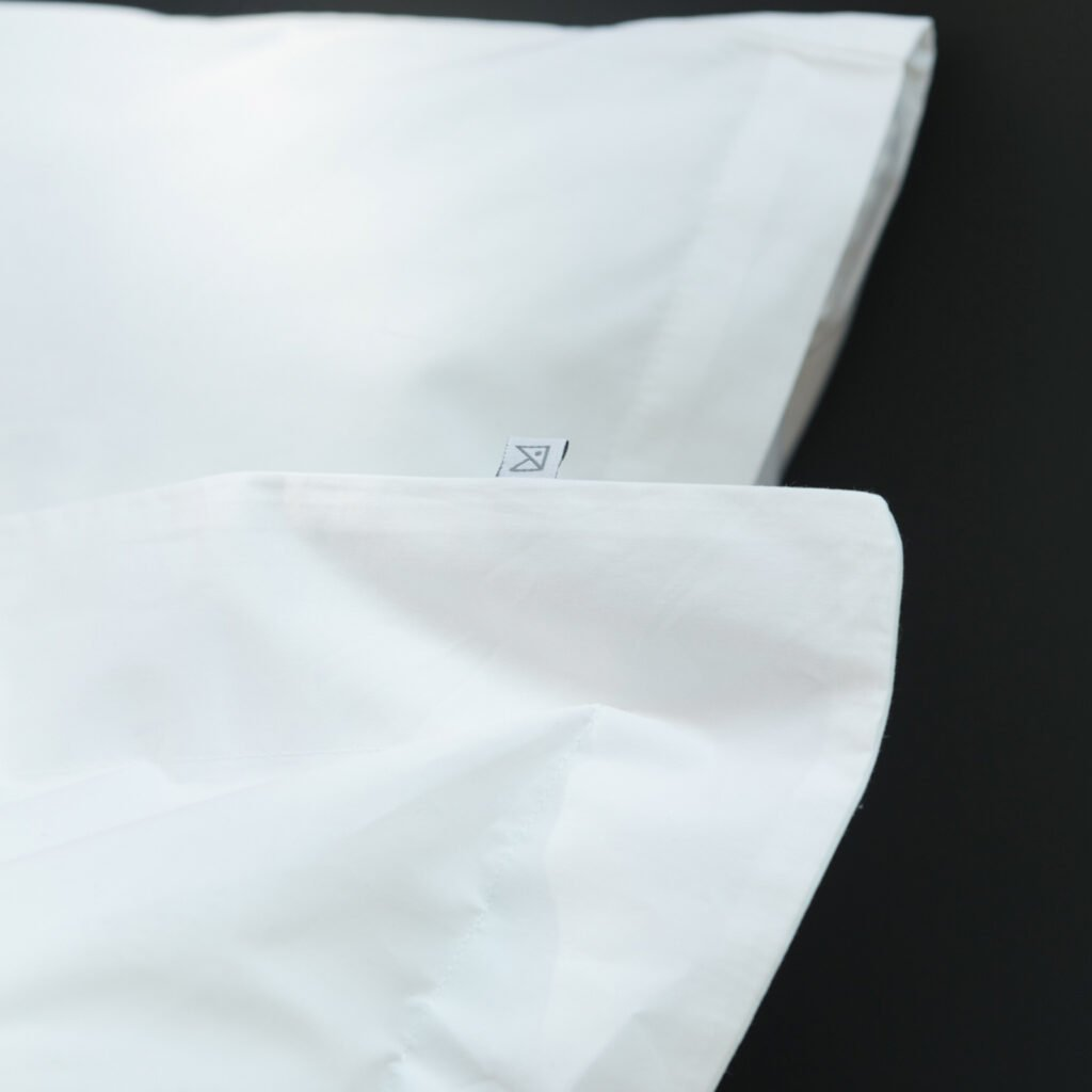 Cotton percale oxford edge pillowcase snow white 1