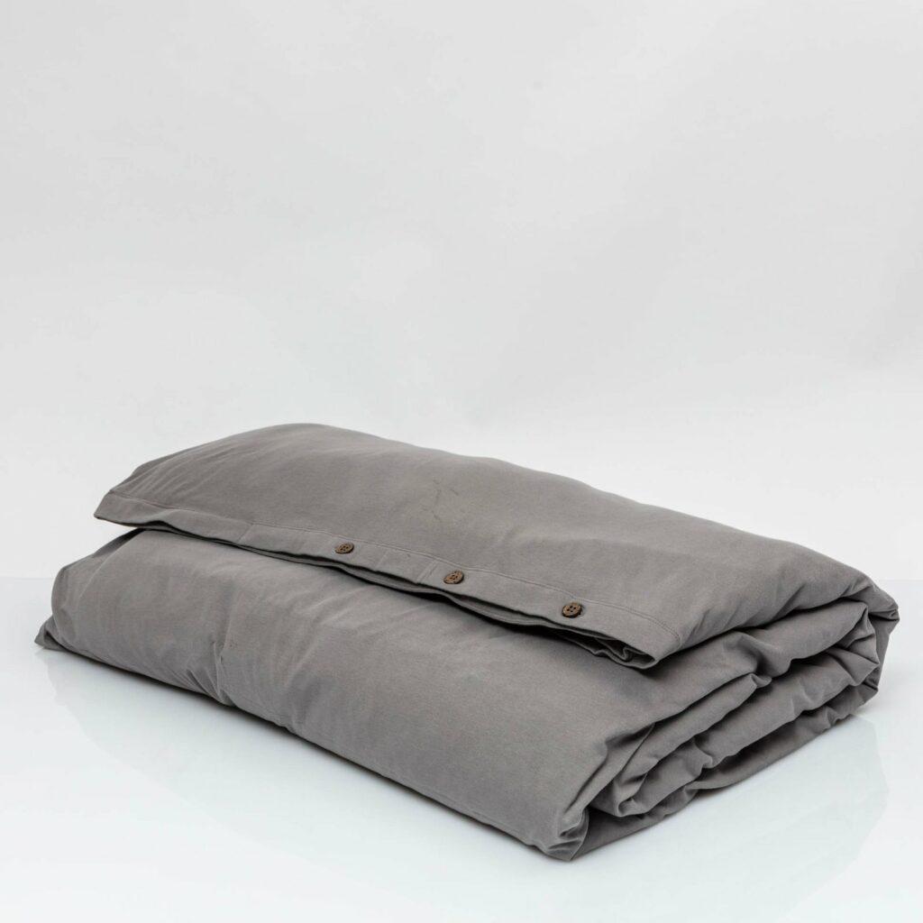 Cotton premium jersey duvet cover stone grey 1