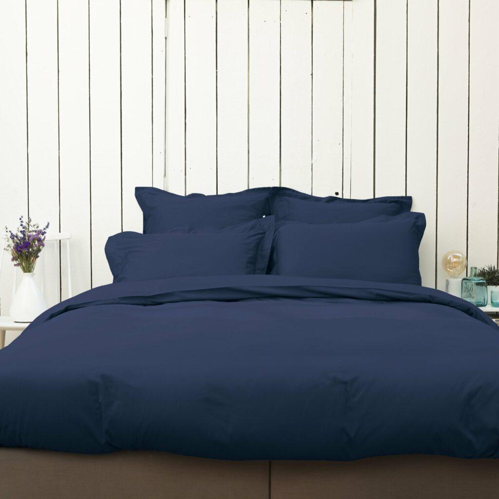 Cotton sateen bedroom midnight blue 1