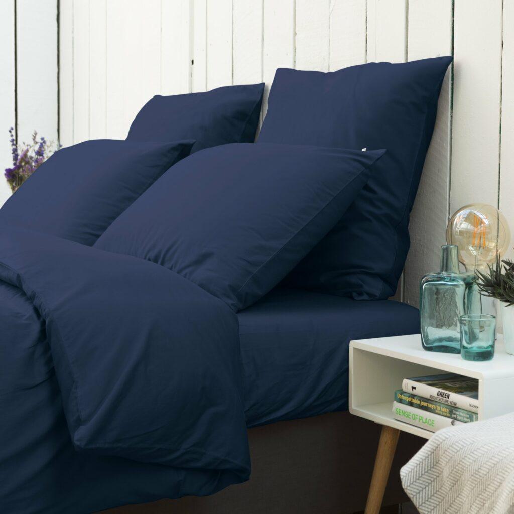 Cotton sateen bedroom midnight blue 3