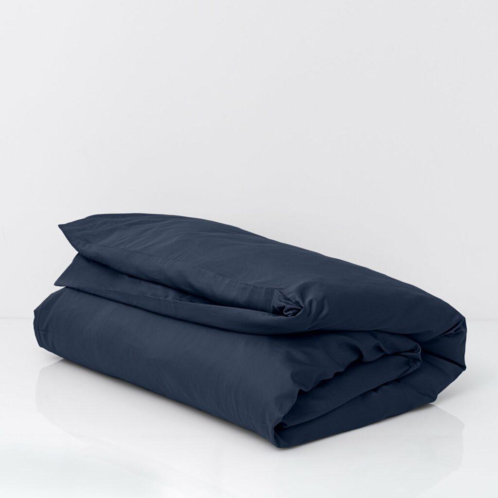 Cotton sateen duvet cover midnight blue 1
