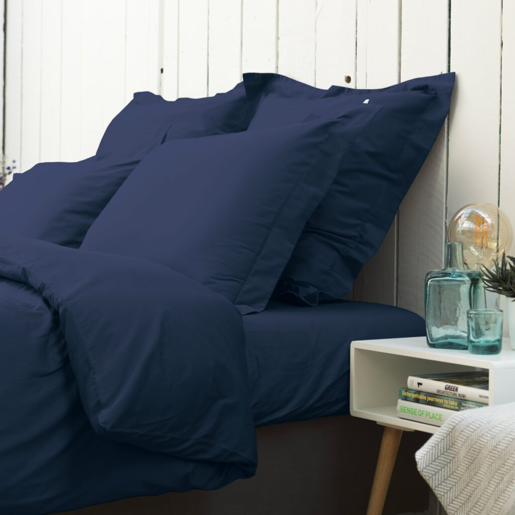 Cotton sateen oxford edge pillowcase midnight blue 6