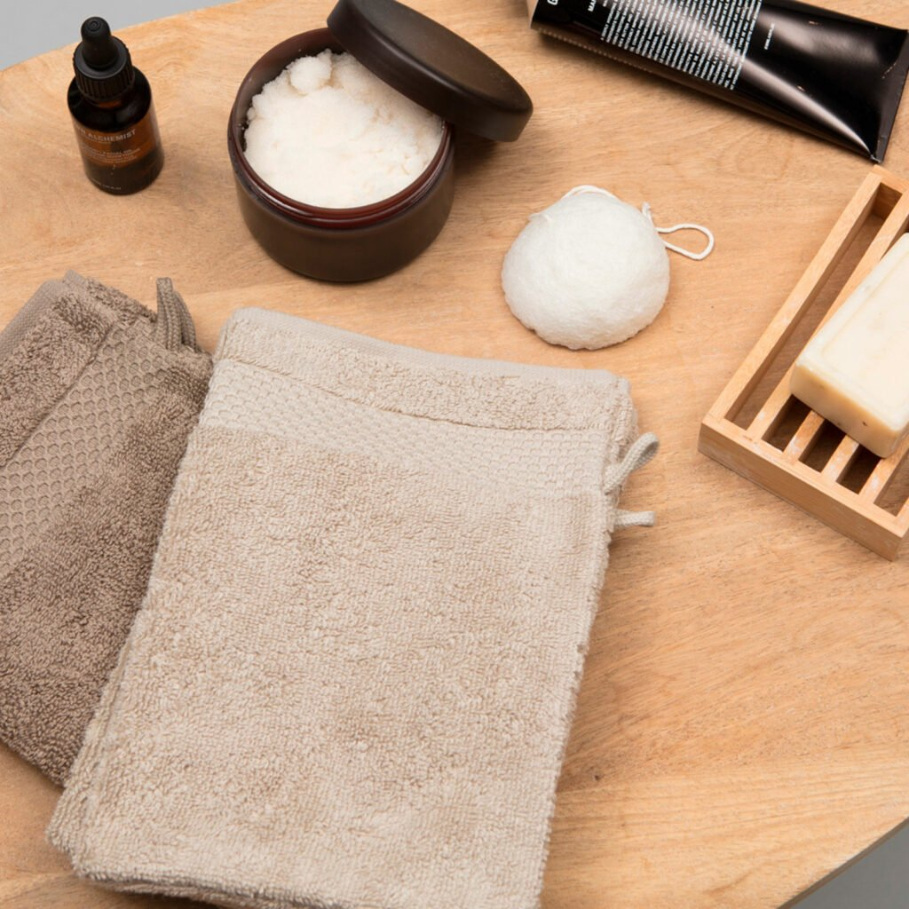 Luxury wash gloves taupe 3