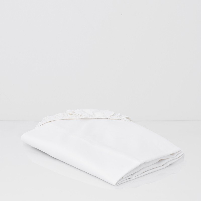 Cotton Percale Fitted Sheet Snow White 1