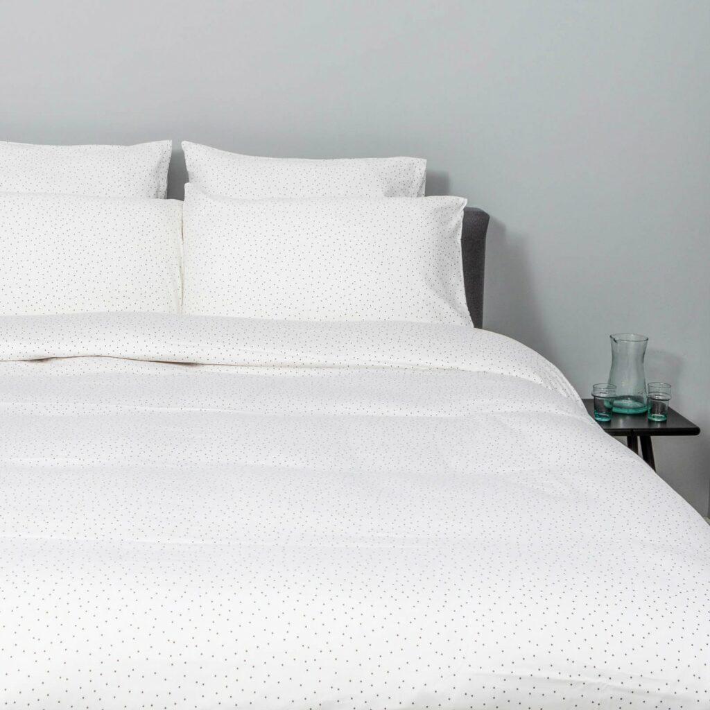 cotton sateen bedroom small grey dots 1