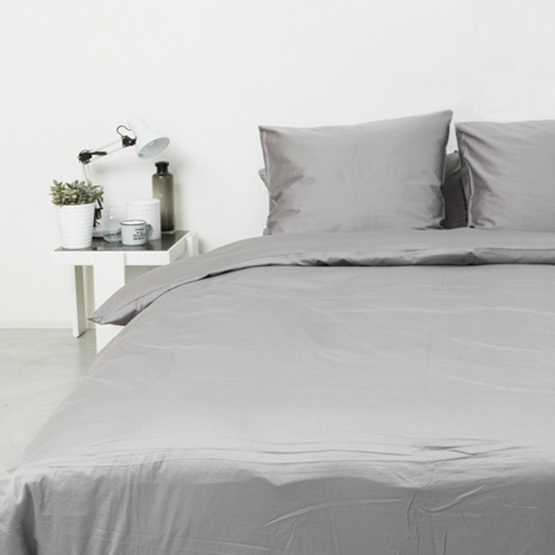Cotton Sateen Duvet Cover Stone Grey 5