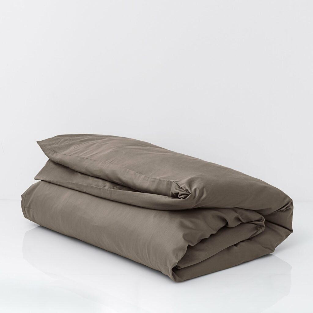 cotton sateen duvet cover taupe 2