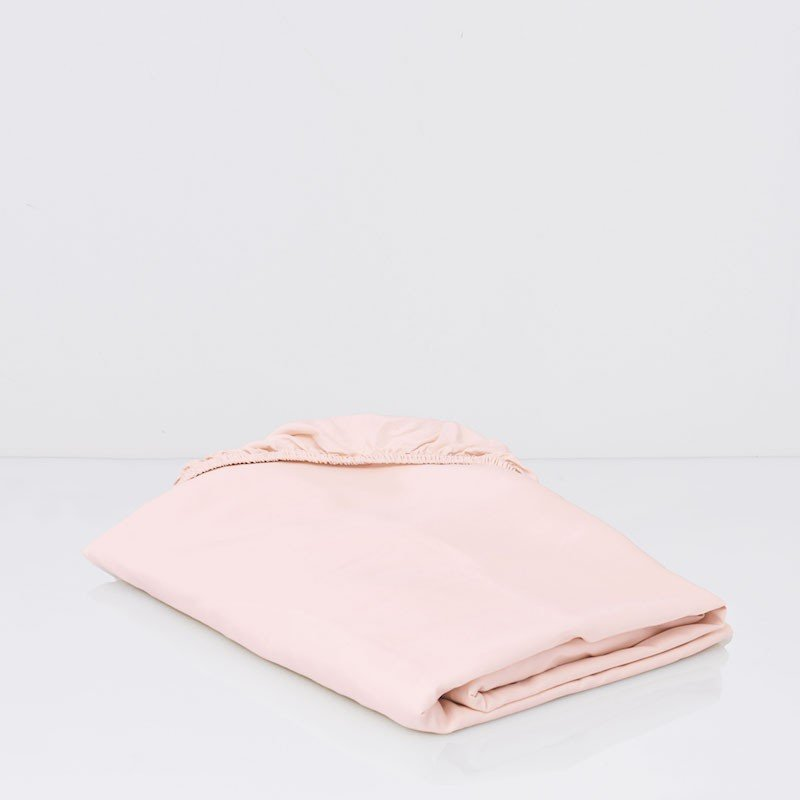 Cotton Sateen Fitted Sheet Soft Pink 1