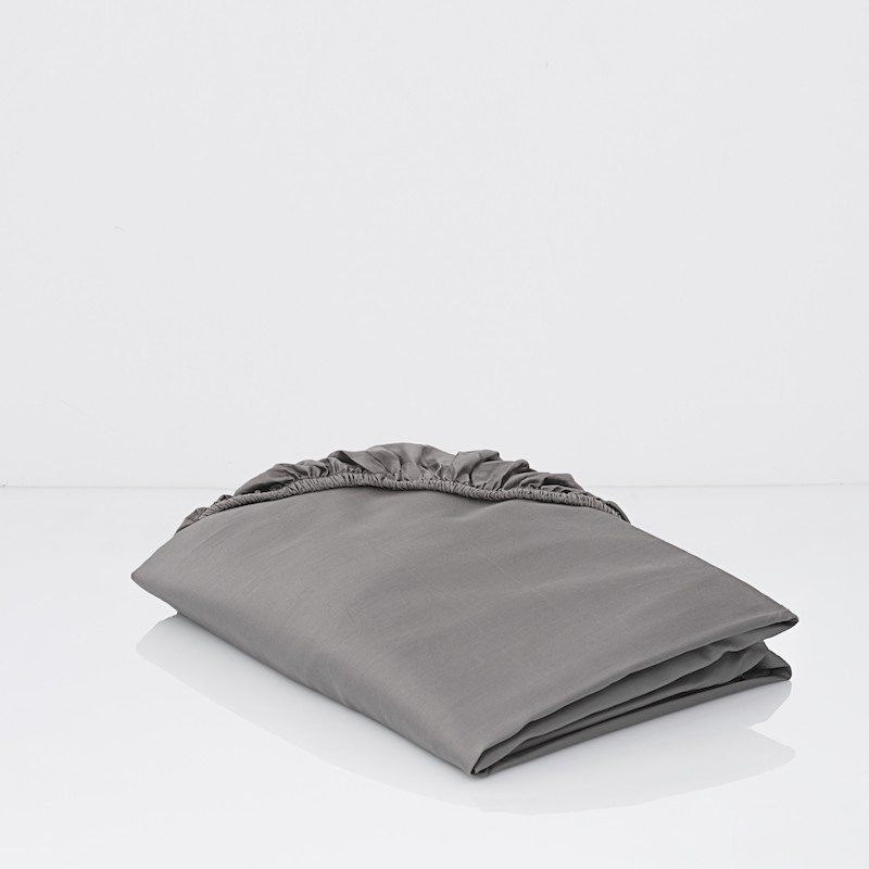 Cotton Sateen Fitted Sheet Stone Grey 1