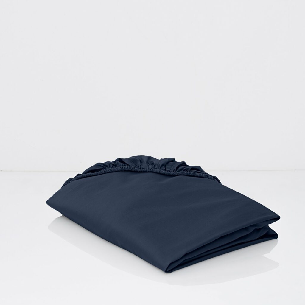 cotton sateen fitted sheets midnight blue 1