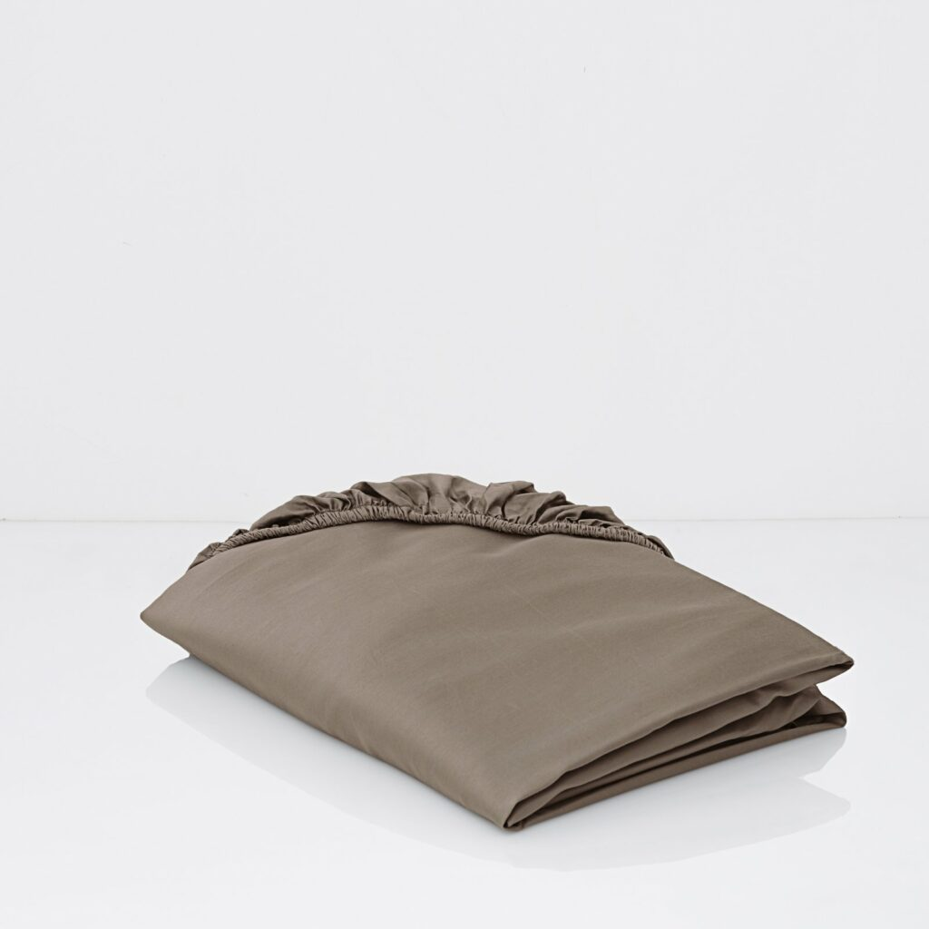 cotton sateen fitted sheets taupe 1