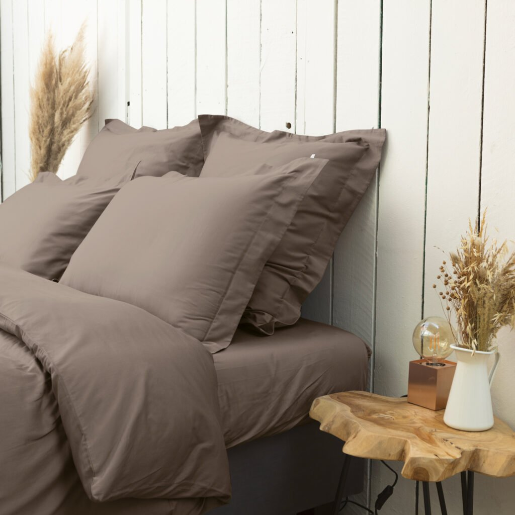 cotton sateen oxford edge pillowcase taupe 1