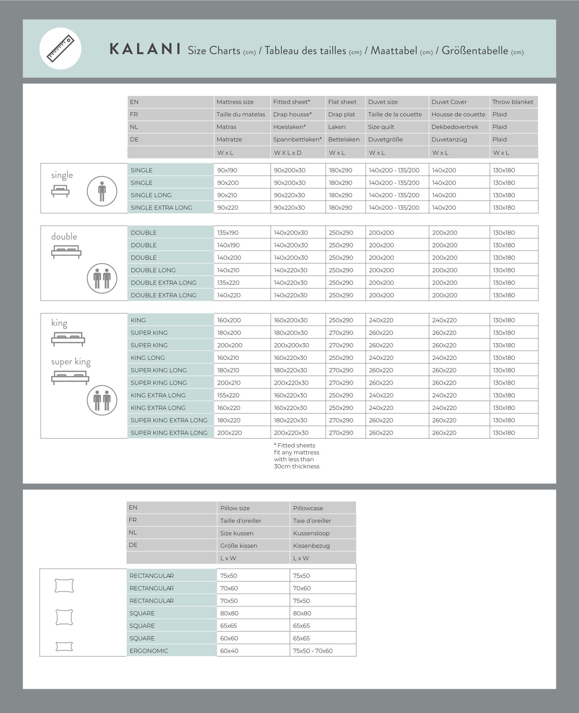 Kalani Size Guide