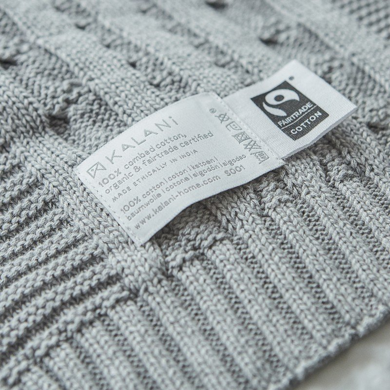 Throw Cotton Cable Knit Mid Grey Melange 6