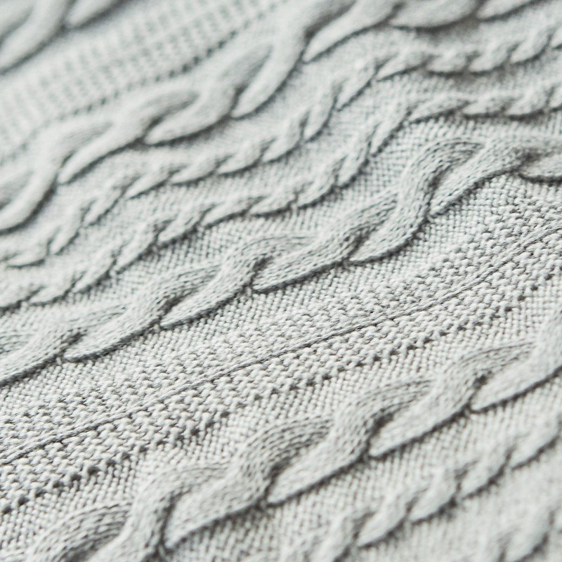 Throw Cotton Cable Knit Mid Grey Melange 7