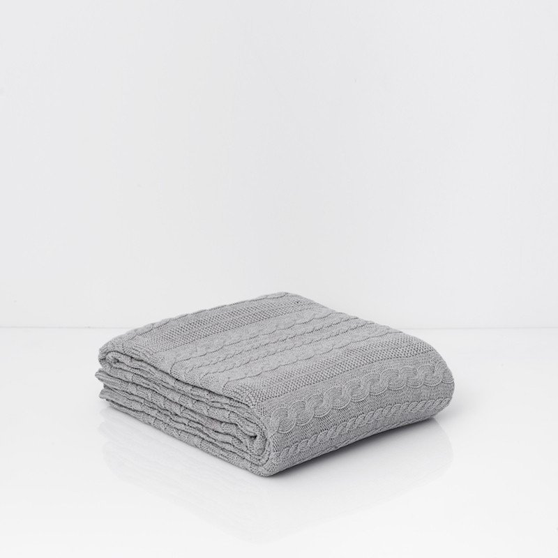 Throw Cotton Cable Knit Mid Grey Melange 8