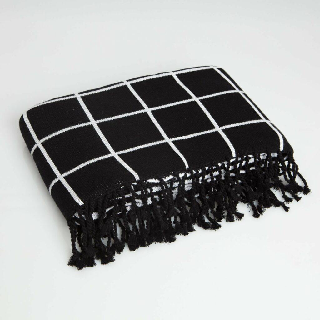 throw jacqard with tassel black+white 130x180 1