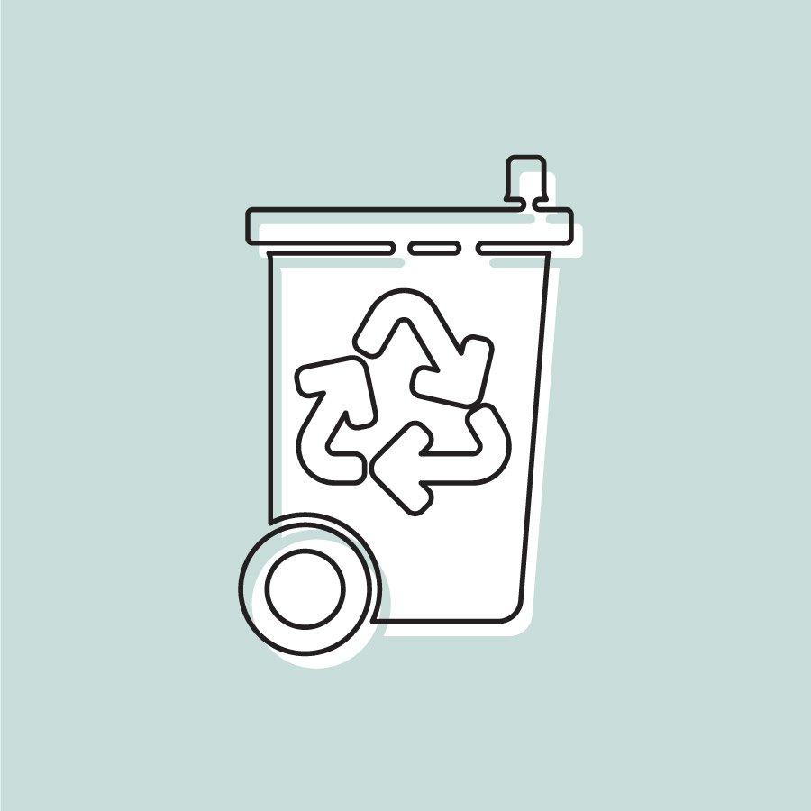 Wir recyceln - recyceln Behälter